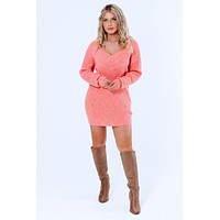 Candy Hearts Sweater Dress: Coral Pink