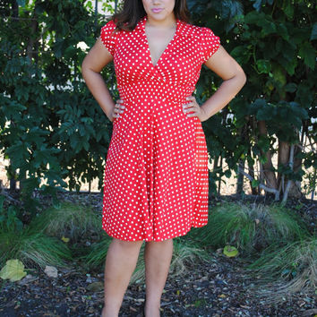 Womens,Vintage Look ,Plus Size Dress RED Polka Dot Rockabilly,Pin Up,Retro style