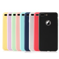 For iPhone 7 8 Case Silicone Phone Cover for iPhone 6 6s Plus Solid Candy Color Ultra Thin Soft Gel Rubber TPU