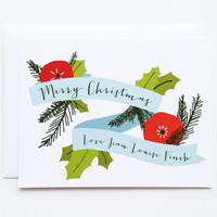 Personalized Christmas Card Set | Illustrated Holiday Card Set, Custom Christmas Cards