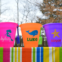 Personalized sand bucket, sand pail, beach bucket, kids gift, beach party favor, girls sand pail, boys sand pail