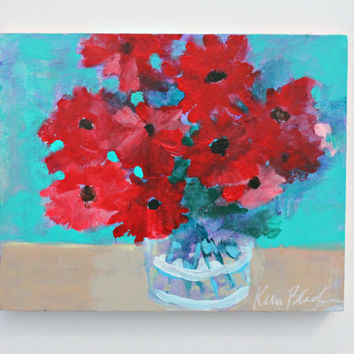 "Abstract Floral, Loose Flower Painting, Still Life, ""Red Flowers"" 8x10"""