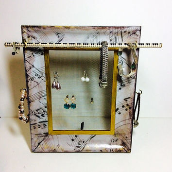 Jewelry organizer, desktop earring display, Decoupage jewelry frame, Music themed desktop frame, patterned jewelry display frame