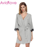 Ekouaer Women Sleepwear Nightwear Kimono Robe Soild Winter Autumn Casual Cotton Bathrobe Belt Elegant Bathroom Spa Robe