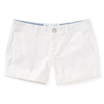 Aeropostale Womens Cuffed Twill Midi Shorts