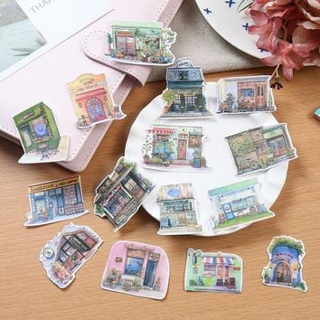 Japanese Style Retro Little House Stickers Decorative Stationery Craft Stickers Scrapbooking DIY  Stick Label