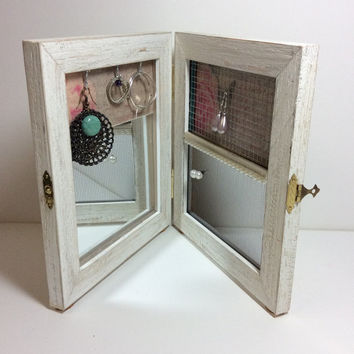 Earring display, TRAVEL jewelry frame, earring organizer PORTABLE, jewelry organizer with MIRROR, double hinged frame, jewelry storage idea