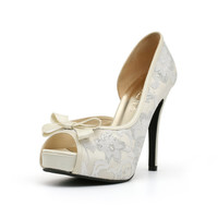 White Lace Wedding Heel with Bow. White Wedding Shoe. White Shoes. Ready Made White Heels