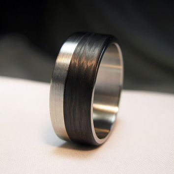 Carbon Fiber and Stainless Steel Ring - Offset Design