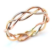 Tri Tone Braided Ring in Rose gold, Gold, and Silver