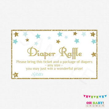 Twinkle Twinkle Little Star Baby Shower Boy Diaper Raffle Ticket, Diaper Raffle Sign and Raffle Cards Blue Gold Baby Shower, Printable, STBG