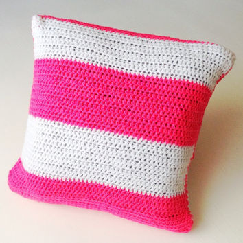 Handmade Pink and white crochet cushion cover, pillow cover, pillow case