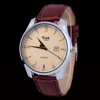 Sloggi fashion men's leather waterproof calendar belt watch Lady quartz watch