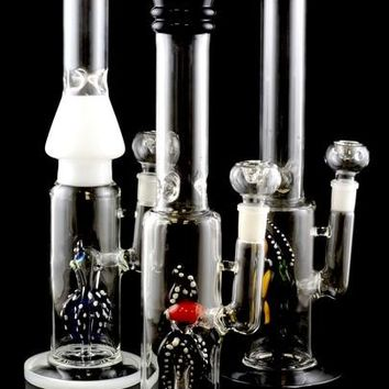 Large Stemless Glass on Glass Water Pipe with Stemline Animal Perc