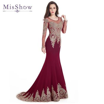 Gold Appliques Beaded Burgundy Black Blue Long Sleeve Plus size Prom Dresses Mermaid 2017 Sweep Train Party Dress Formal Gowns
