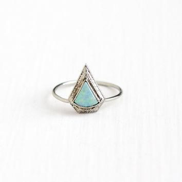 Vintage 10k White Gold Opal Stick Pin Conversion Ring - Antique 1920s Size 6 Art Deco