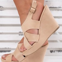 Ready For The Weekend Criss Cross Wedges (Nude)