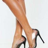 Missguided - Black Clear Pointed Pumps