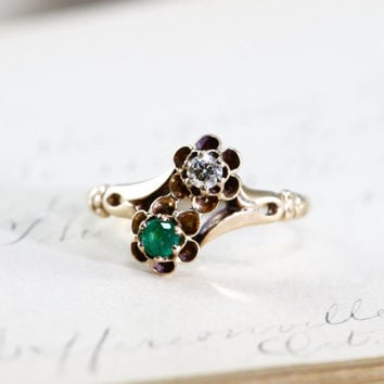 Victorian Emerald & Diamond Ring, Antique 14k Yellow Gold Toi Et Moi Bypass Crossover Style, Alternative Engagement Stacking Statement Ring