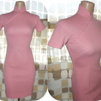 Vintage 60s MOD Pink Cheongsam Stewardess Wiggle Dress XS S MADMEN Asian