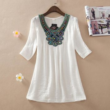 Casual Summer dresses 2017 women clothing embroidery dress female casual women floral vintage beading dress brazil plus size