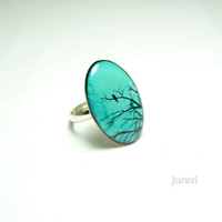 Mintgreen Ring - Turquoise Ring - Boho Ring - Clay Ring - Ring with a Bird - Oval Ring - Tree Ring - Ring with a Tree