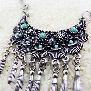 Soaring Mantra Necklace Tibetan Turquoise Choker Necklace tribal jewelry