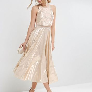 ASOS Metallic Crop Top Embellished Midi Dress at asos.com