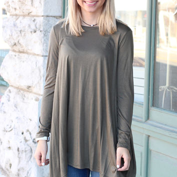 Long Sleeve High Neck Basic Tunic Top {Olive}