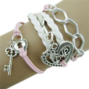 Infinity Love Heart Key Lock Friendship Antique Leather Charm Bracelet