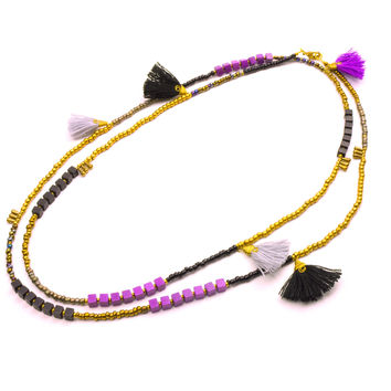 "Kerala 3-in-1 Necklace 44"" Midnight - Global Groove"