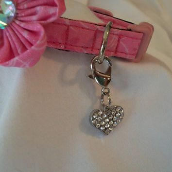 Couture Dog Collar/ Cat Collar CHARM Or Purse CHARM  Rhinestone Heart with Austrian Crystals