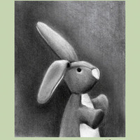 Charcoal Bunny-Sage Border | Canvas Wall Art