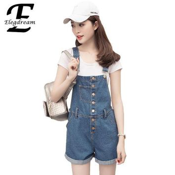 ESB8UH Elegdream Brand Clothes Fashion Denim Overalls for Women Rompers Female Jean Shorts Bodysuit Cross Strap Laides Playsuits Shorts