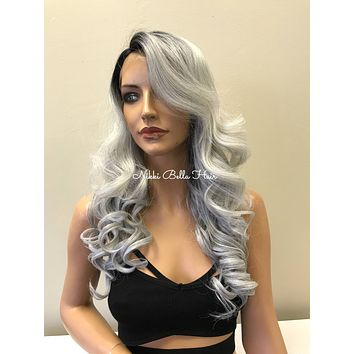 Silver Gray Ombre' Human Hair Blend Deep Parting Lace Front Wig - Marybeth 81721