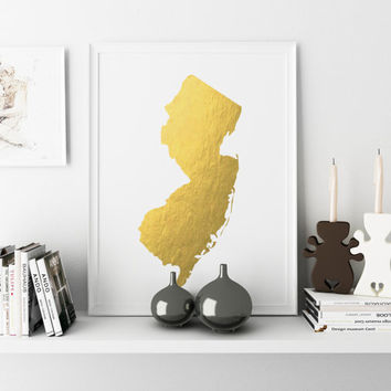 Printable New Jersey State Map Wall Art New Jersey Art New Jersey Poster State New Jersey New Jersey Map State Print New Jersey Print GOLD