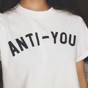 Women Men ANTI-YOU T-Shirts Summer Top +Free Gift -Random Necklace -87