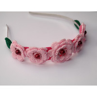 Floral Headband Crochet/Crochet headband/hoop hair flower /crochet hairband with metal base/gift for her/pink roses/tiara/wrath/wedding