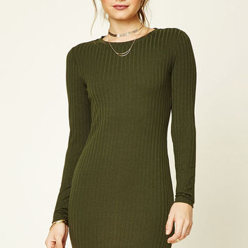 Ribbed Cutout-Back Dress