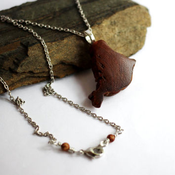 Wood Pendant Necklace, Red Cedar Driftwood, Irregular Shape, Eco-Friendly Reclaimed Wooden Jewelry by Hendywood