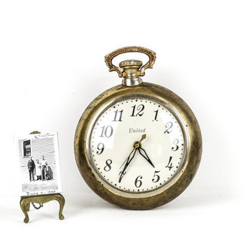 Vintage Brass Pocket Watch Clock / United New York 1950s