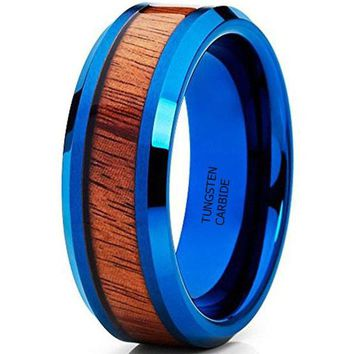 CERTIFIED 8MM Blue Koa Wood  Tungsten Carbide Ring