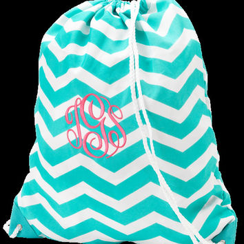 Aqua Chevron Zig Zag Drawstring LARGE size Gym Bag Cinch Bag Backpack Pool Bag Swim Bag Dance Bag Sports Bag