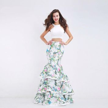 Fashionable Two-Piece Prom Dresses New Floral Print O-neck Sleeveless Long Evening Party Gowns for Women