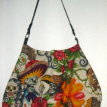 Day of the Dead festive Large Red rose Handbag purse  Slouch  Tote Gym Diaper Bag School