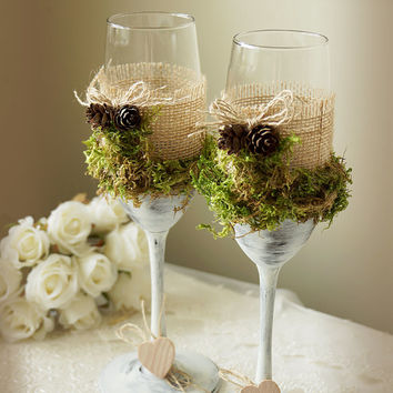 Rustic Wedding Champagne Flutes Wedding Champagne Glasses Outdoor Country Barnyard Vintage Wedding