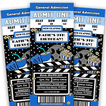Blue Boys Movie Birthday Invitation - Admission Ticket Invite - Now Playing - Admission Ticket Invitation - Chalk - Retro Invites Movie