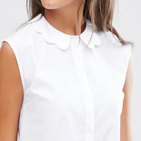 ASOS Tall | ASOS TALL Sleeveless Scallop Collar White Shirt at ASOS
