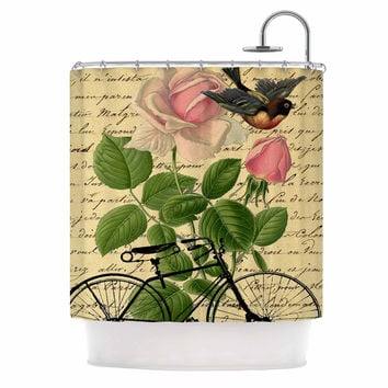"Suzanne Carter ""Vintage Cycle"" Floral Shower Curtain"