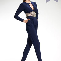 MEADOW - Navy jersey jumpsuit
